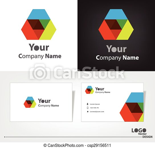 Abstract logo vector design with business card template. - csp29156511