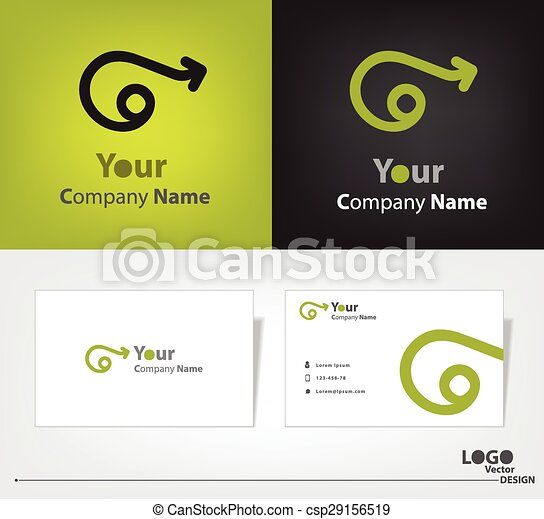 Abstract logo vector design with business card template. - csp29156519