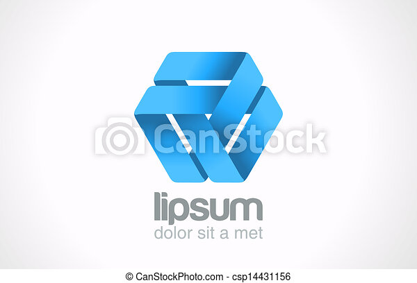 Abstract looped ribbon logo template. Triangle loop shape. - csp14431156