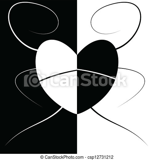 Abstract love and heart black and white csp12731212