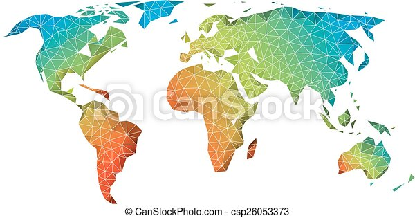 Exceptional Abstract Low Poly World Map, Vector