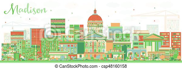 Abstract Madison Skyline with Color Buildings. - csp48160158