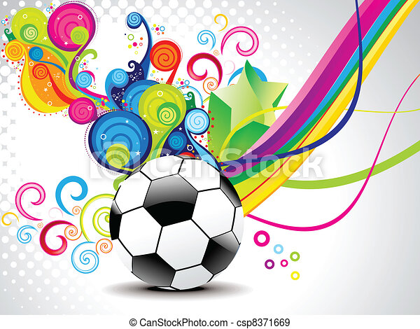 abstract magical wave with football - csp8371669