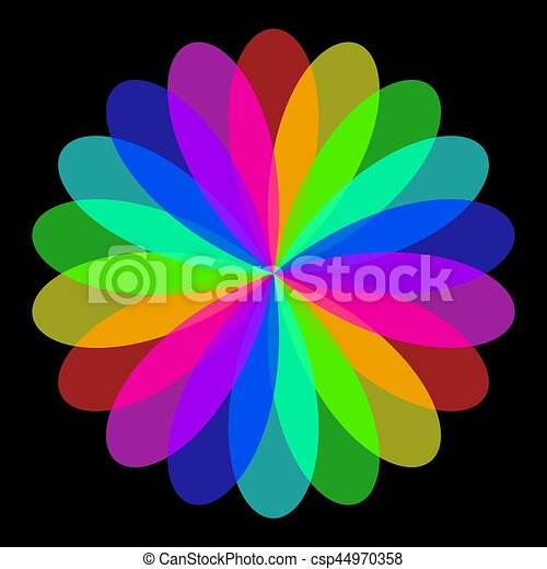 Abstract mandala in rainbow colors, flower isolated on ...