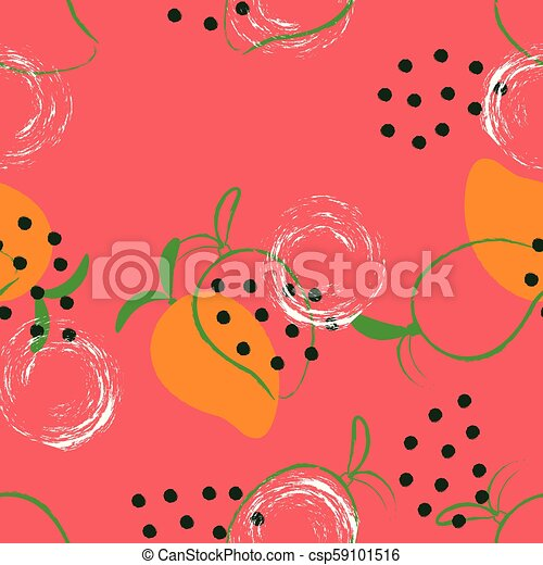 Seamless Abstract Mango Pattern Fruit Wallpaper Colored Background With Exotic Fruits Canstock