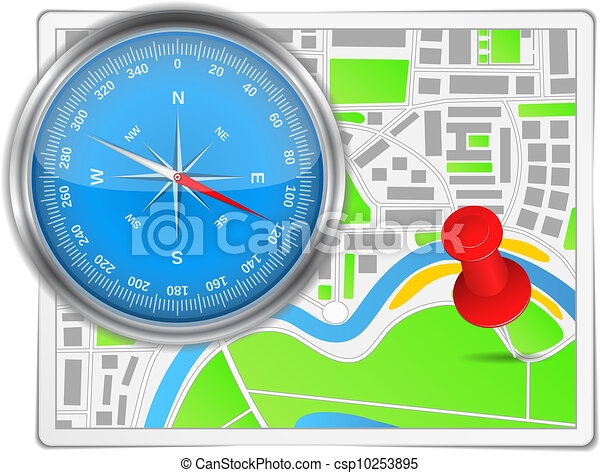 Abstract map with compass and push pin - csp10253895