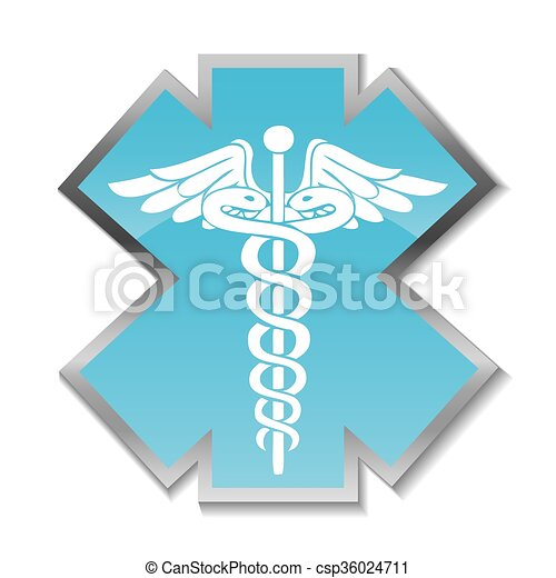 Abstract medical background with caduceus medical symbol. - csp36024711