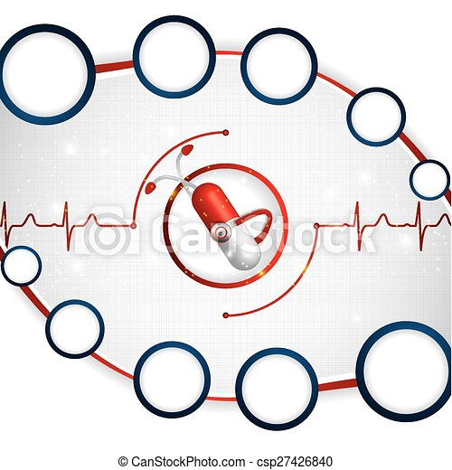 Abstract medical cardiology ekg background - csp27426840