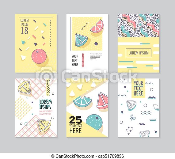 Abstract Memphis Style Posters Set  Geometric Shapes Cards  Trendy 80s-90s  Patterns  Vector illustration