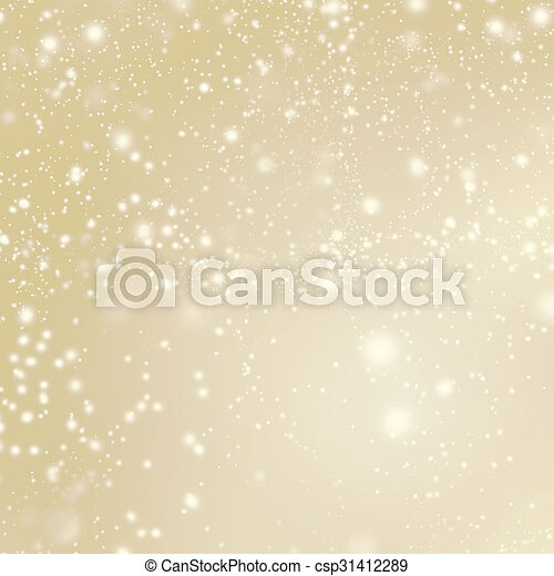 Abstract Merry Christmas card - Golden Christmas lights  and snowflakes - csp31412289