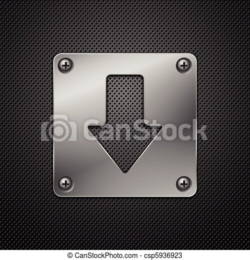 Abstract metal background. Download sign.Vector illustration. - csp5936923
