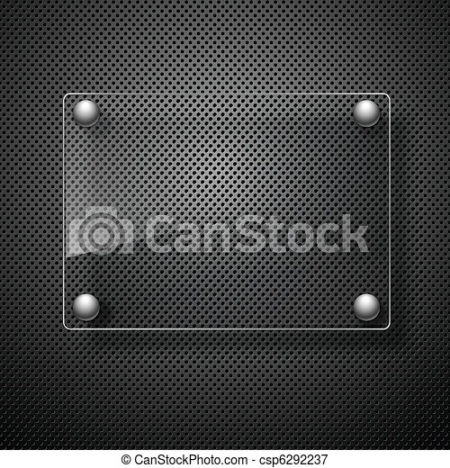 Abstract metal background with glass framework. Vector illustration. - csp6292237