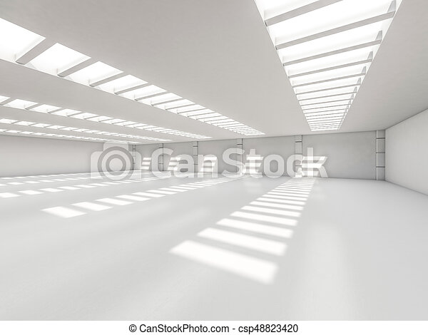 Abstract modern architecture background, empty white open space - csp48823420