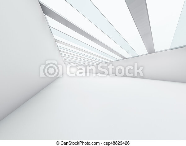 Abstract modern architecture background, empty white open space - csp48823426