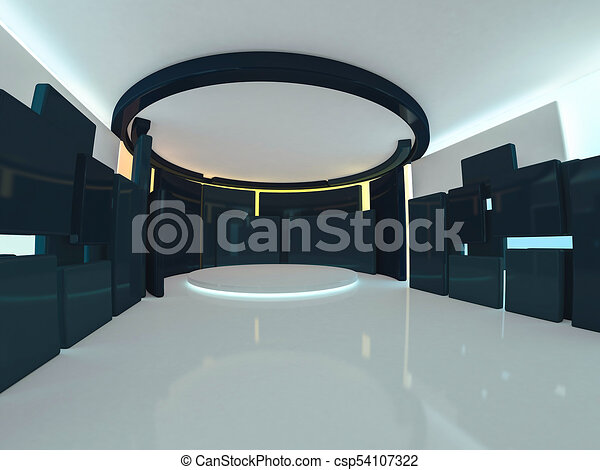 Abstract modern architecture background. 3D rendering - csp54107322