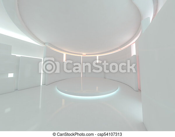 Abstract modern architecture background. 3D rendering - csp54107313