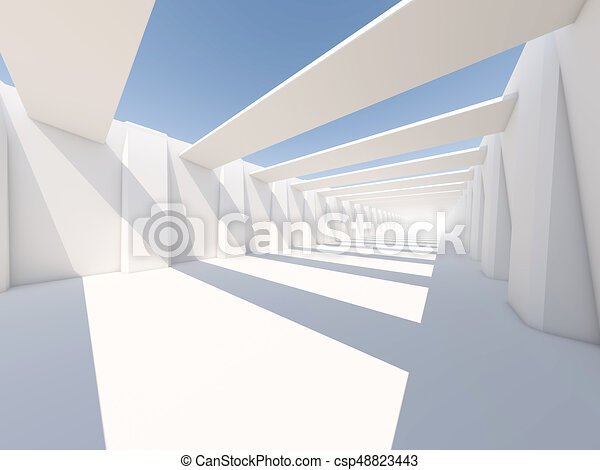 Abstract modern architecture background, empty white open space - csp48823443