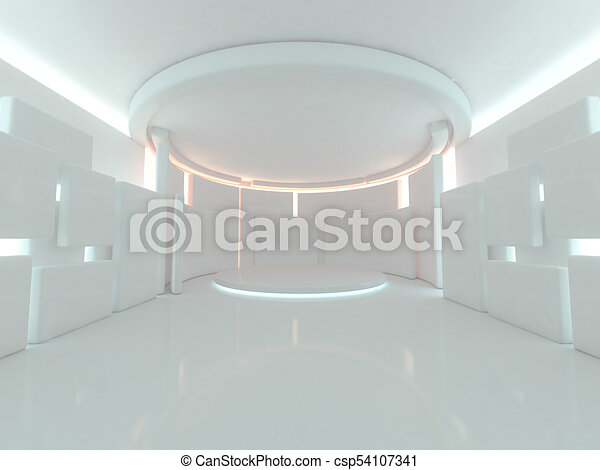 Abstract modern architecture background. 3D rendering - csp54107341