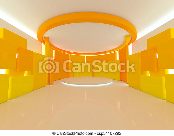 Abstract modern architecture background. 3D rendering - csp54107292