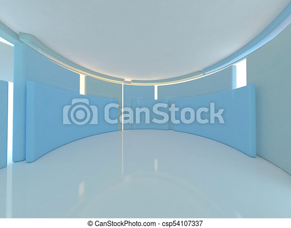Abstract modern architecture background. 3D rendering - csp54107337