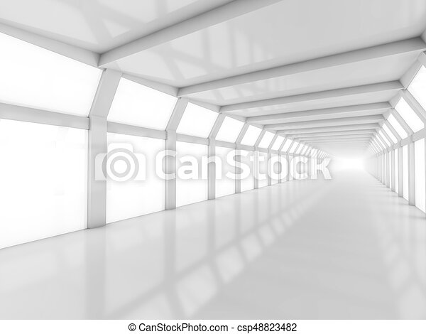 Abstract modern architecture background, empty white open space - csp48823482