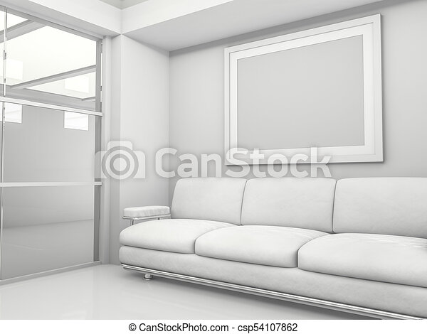 Abstract modern architecture background. 3D rendering - csp54107862