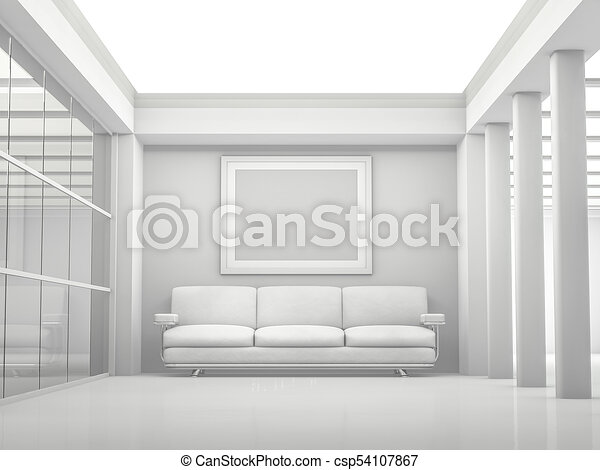 Abstract modern architecture background. 3D rendering - csp54107867