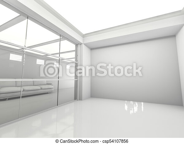 Abstract modern architecture background. 3D rendering - csp54107856
