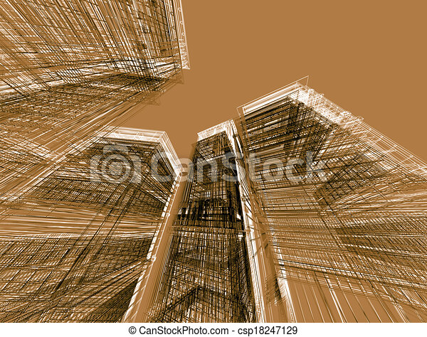 abstract modern architecture  - csp18247129
