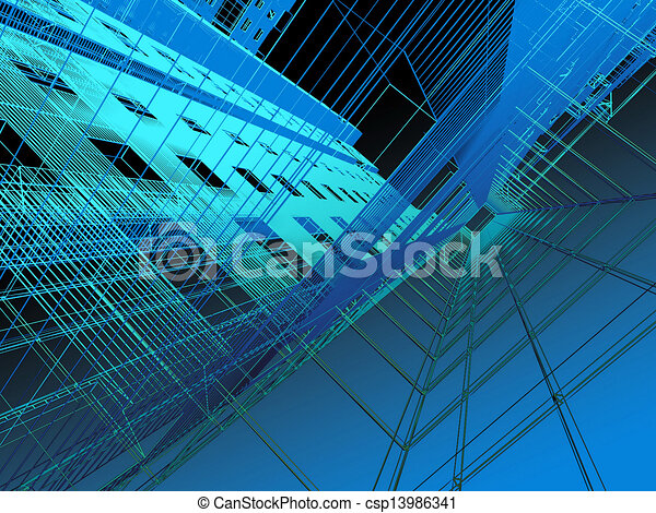 abstract modern architecture - csp13986341