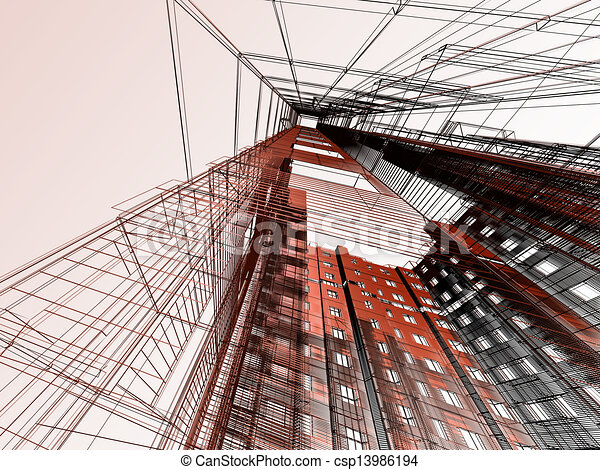 abstract modern architecture - csp13986194
