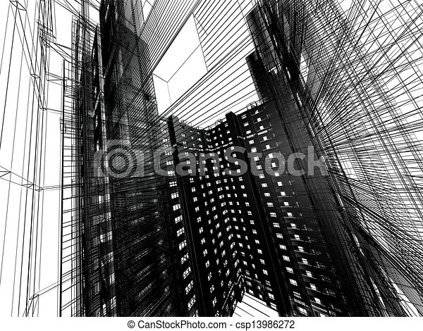 abstract modern architecture - csp13986272