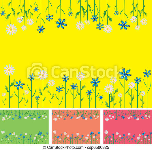 Abstract, modern background with flowers - csp6580325
