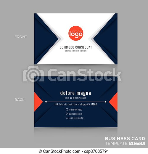 Abstract modern navy blue triangle Business card Design - csp37085791