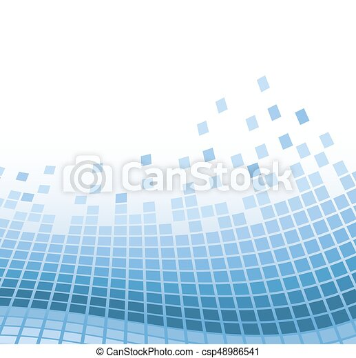 abstract mosaic background with blue wavy particles. vector illustration - csp48986541