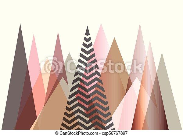 Abstract mountain landscape in Scandinavian style design - csp56767897