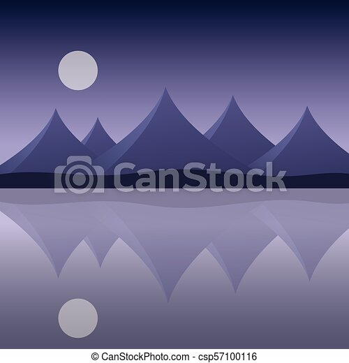 Abstract mountain landscape on the sea shore with reflection in water and moon on purple sky - vector - csp57100116