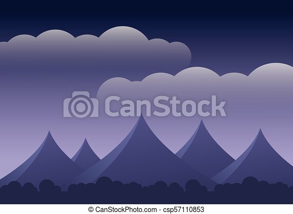 Abstract mountain landscape with forest and clouds on purple sky - with space for your text - csp57110853