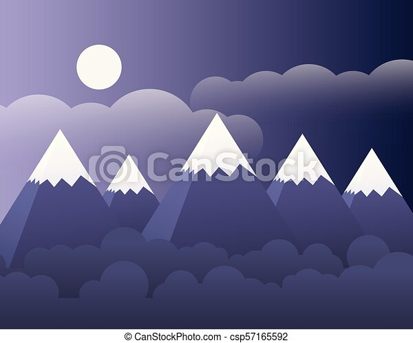 Abstract mountain landscape with forest and moon and clouds on purple sky - vector - csp57165592
