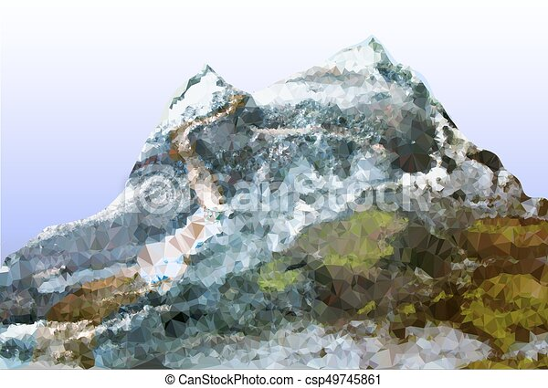 Abstract mountain landscape with trail, peaks covered with ice and stones - csp49745861