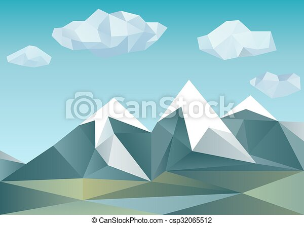 Abstract mountains in polygonal style - csp32065512