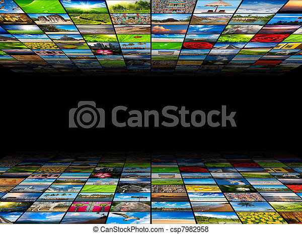 Abstract multimedia background composed of many images with copyspace in the center - csp7982958