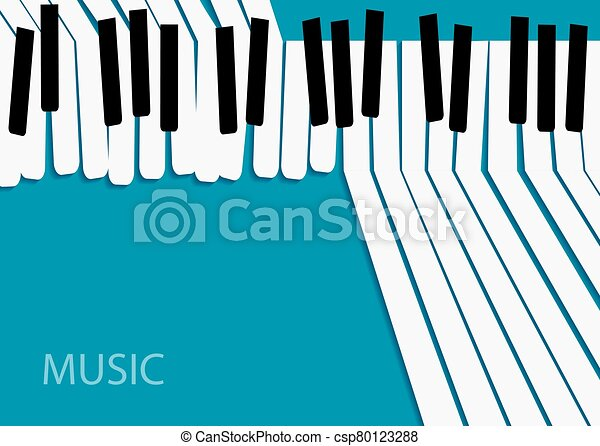 Abstract Music Background White Piano Keys On Blue Background Template Banner For Your Text Bright Horizontal Banner