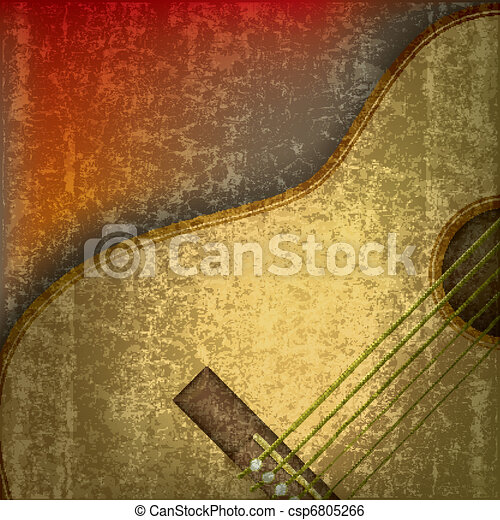 abstract music background with acoustic guitar - csp6805266