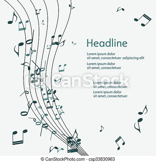 Abstract music background with notes. - csp33830963