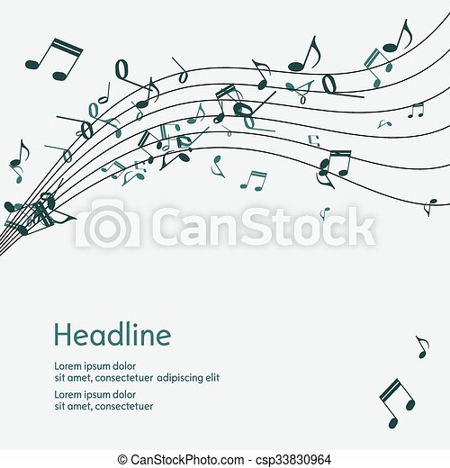 Abstract music background with notes. - csp33830964