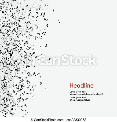 Abstract music background with notes. - csp33830953