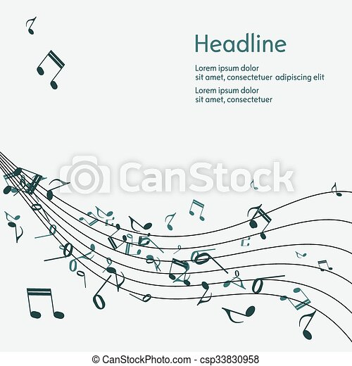 Abstract music background with notes. - csp33830958