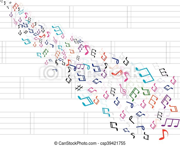 Abstract music background with notes - csp39421755