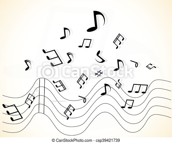 Abstract music background with notes - csp39421739